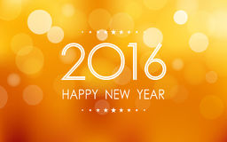 Happy new year 2016 in bokeh and lens flare pattern on summer orange background. Happy new year 2016 in glitter and lens flare pattern on summer orange royalty free illustration