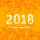 Happy new year 2018 in bokeh and lens flare pattern on summer orange background Stock Photography