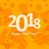 Happy new year 2018 in bokeh and lens flare pattern on summer orange background Royalty Free Stock Photos