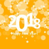 Happy new year 2018 in bokeh and lens flare pattern on summer orange background Stock Images