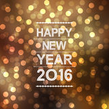 Happy new year 2016 with bokeh and lens flare pattern in yellow background Royalty Free Stock Image