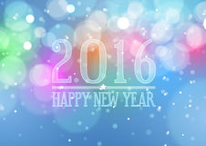 Happy New Year 2016 on Bokeh Light Background Stock Photos