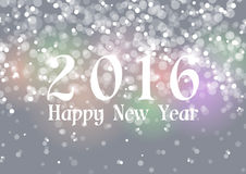 Happy New Year 2016 on Bokeh Light Gray Background. Vector Illustration Royalty Free Stock Image