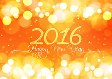 Happy New Year 2016 on Bokeh Light Orange Background Royalty Free Stock Photography
