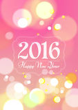 Happy New Year 2016 on Bokeh Light Pink Background Stock Image