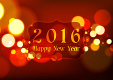 Happy New Year 2016 on Bokeh Light Red Background. Vector Illustration Stock Photo
