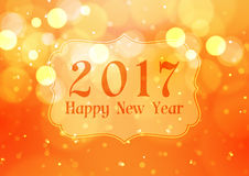 Happy New Year 2017 with Bokeh Lights on Orange Background. Vector Illustration Royalty Free Stock Photography