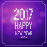Happy new year 2017. In bokeh pattern background with vintage frame,vector illustration Royalty Free Stock Photo