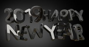 2019 happy new year bold 3d rendering. Illustration Stock Image