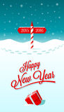 Happy New Year Border Only. New Year greeting card with border between years 2015 and 2016 vector illustration