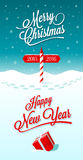 Happy New Year Border. Merry Christmas and Happy New Year greeting card with border between years 2015 and 2016. Vector illustration stock illustration