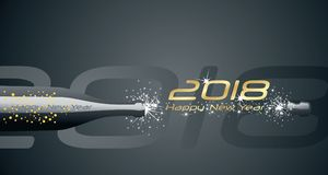 Happy New Year 2018 champagne bubbles firework black abstract background. Happy New Year 2018 bottle champagne bubbles firework gold black abstract background Stock Photography
