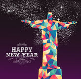 Happy new year 2016 brazil color triangle hipster. Happy new year 2016 greeting card or poster design with colorful triangle Rio Brazil statue and vintage label Royalty Free Stock Image