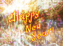 Happy new year. Bright abstraction Happy New Year fireworks in motion blur Royalty Free Stock Photo