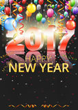 Happy New Year. 2017 bright black greeting card with 3D glossy numbers and balloons. Vector template stock illustration