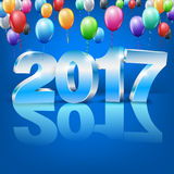 Happy New Year. 2017 bright blue colored greeting card with 3D glossy numbers and balloons. Vector template vector illustration