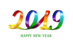 Happy New Year 2019. Bright colorful number on white. stock illustration