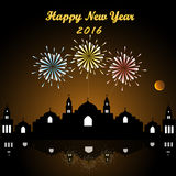 Happy new year 2016. Bright festive fireworks with city skyscrapers at night background and Happy new year 2016 Stock Photos