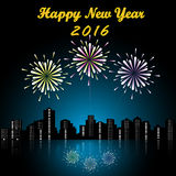 Happy new year 2016. Bright festive fireworks with modern city skyscrapers at night background and Happy new year 2016 Royalty Free Stock Photo