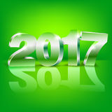Happy New Year. 2017 bright green colored greeting card vector template with 3D glossy numbers Stock Photography