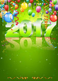 Happy New Year. 2017 bright green greeting card with 3D glossy numbers and balloons. Vector template royalty free illustration