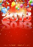 Happy New Year. 2018 bright red colored vertical greeting card with 3D glossy numbers and balloons. Vector template Stock Photo