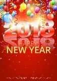 Happy New Year. 2018 bright red colored vertical greeting card with 3D glossy numbers and balloons. Vector template Stock Images