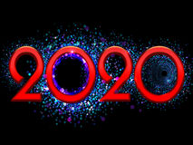 2120 Happy New Year bright red text on a black background. 2020 Happy New Year bright red text on a black background Royalty Free Stock Photography
