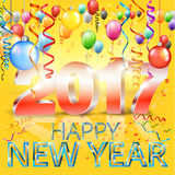 Happy New Year. 2017 bright yellow greeting card with 3D glossy numbers and balloons. Vector template Royalty Free Stock Photos