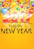Happy New Year. 2017 bright yellow greeting card with 3D glossy numbers and balloons. Vector template Stock Photo