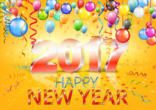 Happy New Year. 2017 bright yellow greeting card with 3D glossy numbers and balloons. Vector template Royalty Free Stock Photography