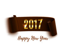 Happy New Year 2017 brown paper banner. Stock Image