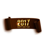Happy New Year 2017 brown paper banner. Happy New Year 2017 brown paper banner isolated on white background. Vector illustration Stock Photo