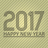 Happy new year 2017 on brown striped lines abstract color background eps10 Royalty Free Stock Photos