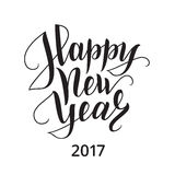 Happy new year brush lettering. Happy new year 2017 brush lettering. Hand drawn text, calligraphy for your design. Vector illustration Royalty Free Stock Photos