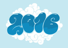 Happy new 2016 year, bubble styled lettering. Typographic illustration for calendar. Inscription for cards. Blue colors Stock Photography