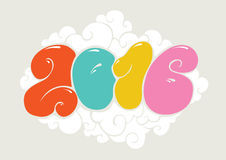 Happy new 2016 year, bubble styled lettering. Typographic illustration for calendar. Inscription for cards. Colorful design Royalty Free Stock Photo