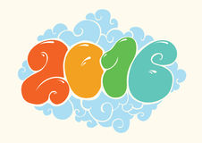 Happy new 2016 year, bubble styled lettering Stock Photography