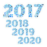 2017 2018 2019 2020  Happy New Year bubble vector, blue. 2017 2018 2019 2020  Happy New Year blue  bubble vector symbols Royalty Free Stock Image