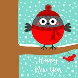Happy New Year. Bullfinch winter bird on rowan rowanberry sorb berry tree branch. Red hat, scarf. Merry Christmas. Candy cane. Cute cartoon baby character Flat stock illustration
