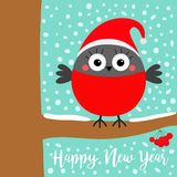 Happy New Year. Bullfinch winter bird on rowan rowanberry sorb berry tree branch. Red Santa hat. Merry Christmas. Candy cane. Cute. Cartoon baby character. Flat royalty free illustration