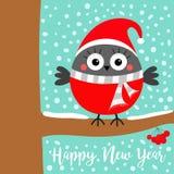 Happy New Year. Bullfinch winter bird on rowan rowanberry sorb berry tree branch. Red Santa hat, scarf. Merry Christmas. Cute. Cartoon baby character. Candy vector illustration