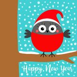 Happy New Year. Bullfinch winter red feather bird on tree branch. Santa hat. Candy cane. Cute cartoon baby character. Merry. Christmas. Greeting card. Flat royalty free illustration