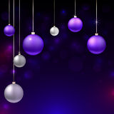 Happy New Year 2015 bunner. Happy New Year 2015 banner with sparkling colorful Christmas balls. Vector illustration. Black disco background with flare lights Royalty Free Stock Photography
