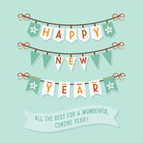 Happy New Year buntings on blue background Stock Images