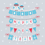 Happy New Year buntings and decoration with two cute owls Royalty Free Stock Photo