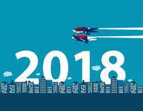 Happy new year. Business competition and direction for 2018. Con. Cept business vector illustration vector illustration