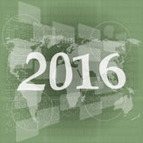 Happy new year 2016 on business digital touch screen Royalty Free Stock Images