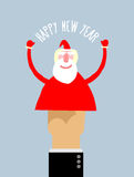 Happy new year. Businessman hand manipulation Doll arm Santa Cla. Us. Vector illustration Greeting card stock illustration
