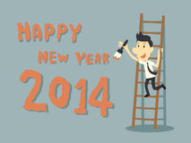 Happy New Year 2014. Businessman paint Happy New Year 2014 Royalty Free Stock Photos